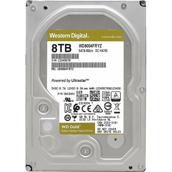 Жесткий диск 8 Тб Western Digital WD Gold (WD8004FRYZ) 3.5